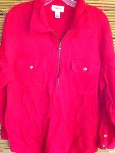 Talbots Red Sweatshirt Jacket Sz L